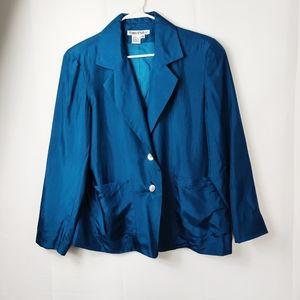 Vintage Teal blazer silk lightweight